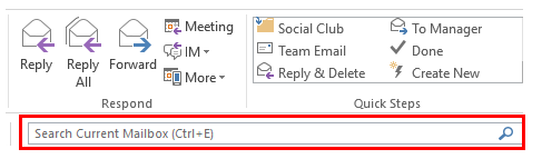 Using the Search Function in Outlook
