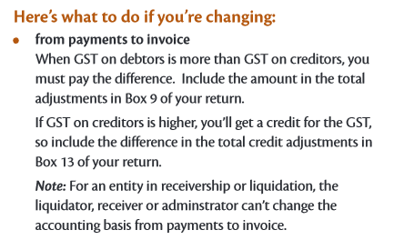 NZ GST - Change of Accounting Basis from Payments Basis to