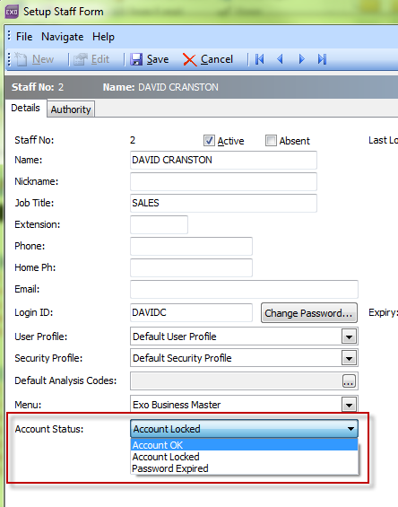 myob account how to search by letter