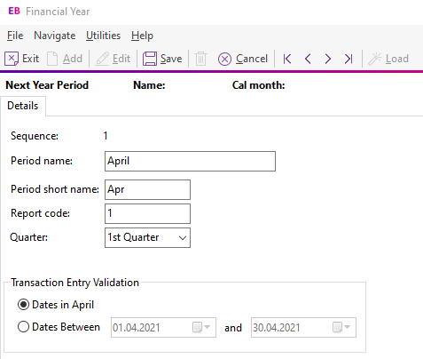 Create periods for new financial year